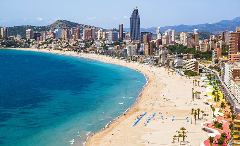 Hotels and Beach of Benidorm.